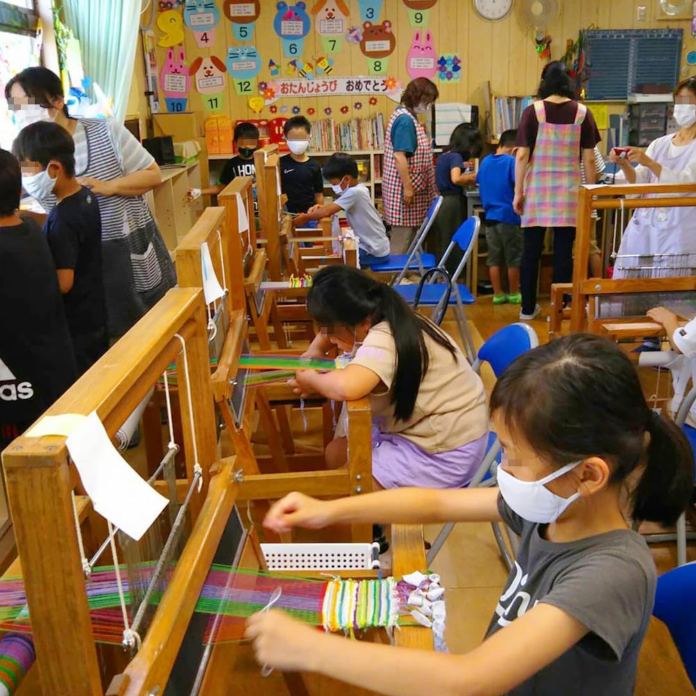 児童クラブで手織り教室