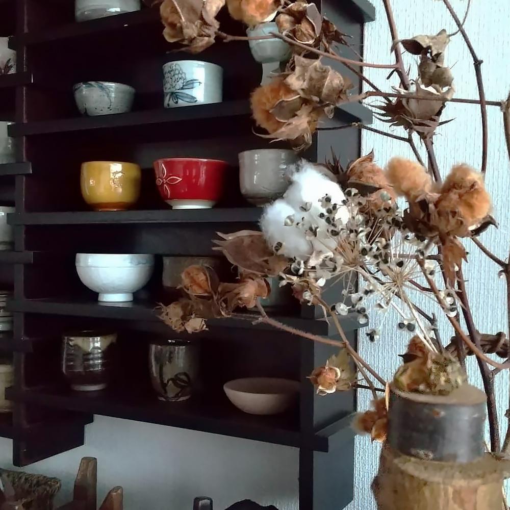 湯呑の飾り棚と綿花のドライフラワー